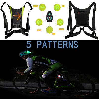 Cycling Waterproof Nylon Rechargeable Cycling Bicycle Led Wireless Safety Turn Signal Light Vest Riding Night Guiding Bike Accessories