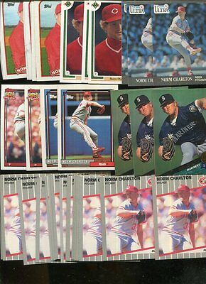 Norm Charlton Bulk Lot Of 100 Baseball Cards Cincinnati Reds