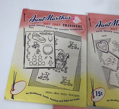Aunt Marthas Hot Iron Embroidery Transfer Patterns Lot of 5 Baby Puppy Kitten