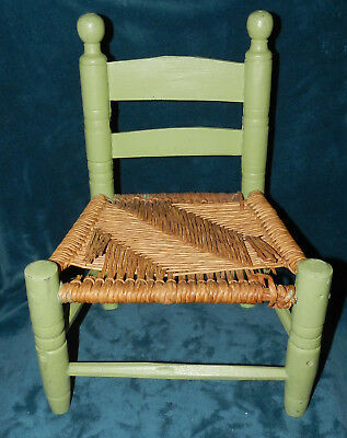 Cute Green Vintage/Antique Wood Child's Chair With Woven Seat! For Dolls/Bears