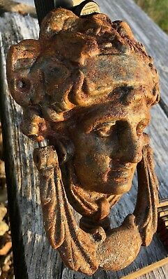 Antique Victorian Door Knocker Cast Iron Greek Goddess Dramatic Rustic 2.5 lb