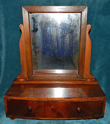 Lovely Antique Vintage Primitive Wood Shaving Mirror With Drawer! Unique!