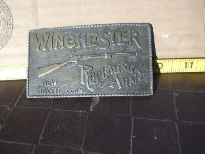 Brass Belt Buckle New Haven Winchester Repeating Arms Lever Action Rifle