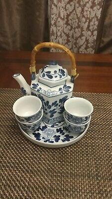 🔥 Oriental Teapot Set Includes 4 Teacups With Plate And Bamboo Handle