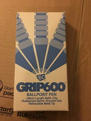 Yasutomo BALLPOINT Pen lot Y&C in Box Knurled Grip RED INK Made In JAPAN grip600