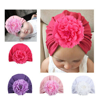 Lovely Newborn Baby Girl Big Flower Soft Cotton Hospital Cap Cute Beanie Hat New