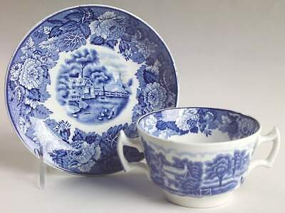 Wood & Sons ENGLISH SCENERY BLUE Bouillon Cup & Saucer 1224865