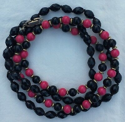 2 Vintage Mod Boho Pink Round Black Oval Faceted Plastic Bead Necklaces