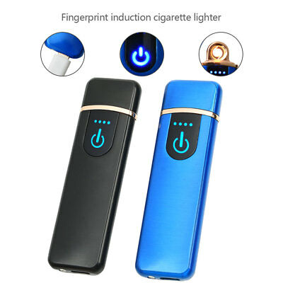 USB Rechargeable Fingerprint Touch Plasma Electric Lighter Windproof Flameless