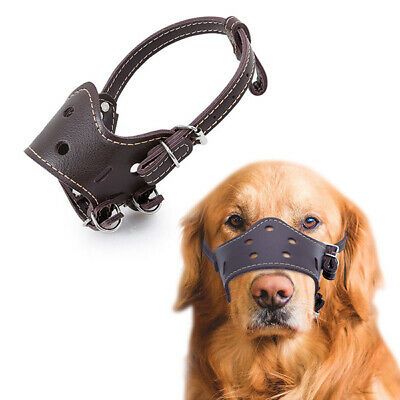 Soft PU Leather Adjustable Muzzles for Dog Anti Bark Bite Training Mouth Cover