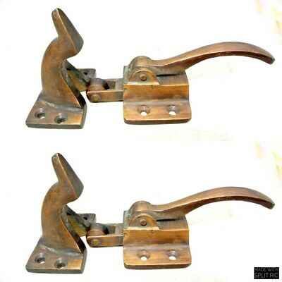2 rare ICE BOX CATCH lever aged antique deco style solid brass heavy offset B