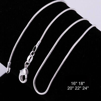 """Wholesale 2MM Silver Plated Snake Chain Necklace 16"""" 18"""" 20"""" 22"""" 24"""" For Pendant"""