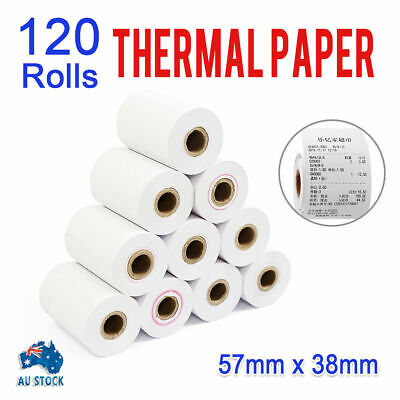 120 Bulk Rolls White 57x38mm EFTPOS Thermal Paper Cash Register Receipt