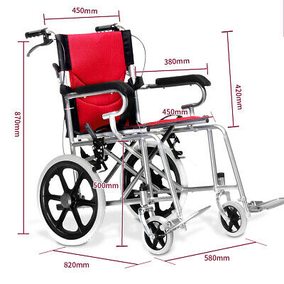 AU Transport Folding Wheelchair Light Weight Manual Mobility Aid Park Brake Push