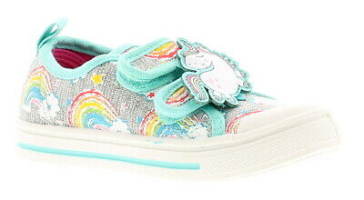 Buckle My Shoe Unicorn Rainbow Girls Kids Canvas Shoes Pumps Trainers UK Size