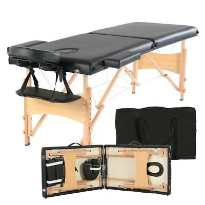"2 Pad 84"" Fold Portable Black Massage Table Bed Spa Health Beauty Facial"