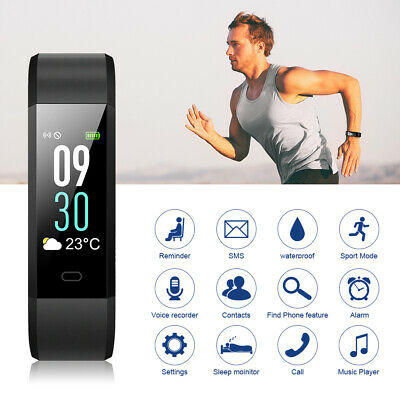 ID115C Bluetooth Smart Watch Bracelet HR Monitor Step Calorie Counter Red AC1444