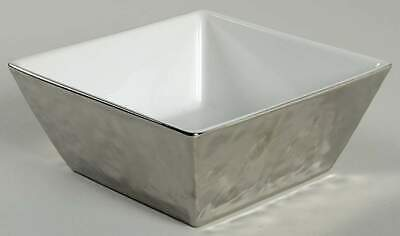 222 Fifth SLATE SQUARE PLATINUM Soup Cereal Bowl 10409142