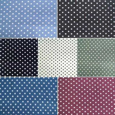 100% Brushed Cotton Printed Winceyette Flannel Fabric 5mm Polka Dot Pea spot