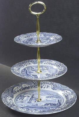 Spode BLUE ITALIAN 3-Tiered Serving Tray Handcrafted 2490527