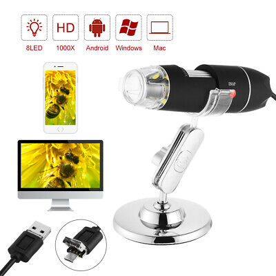 WIFI 1000X USB Microscopio Zoom 2MP Camera 8 LED Endoscopio With Stand TE981