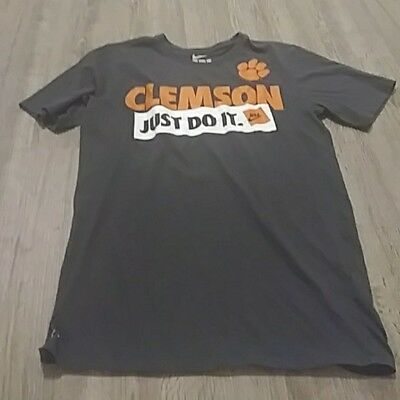 b91b878a Men's small Clemson Tigers NCAA Nike Orange Just Do It Dri Fit Shirt
