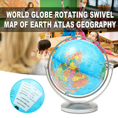 25cm Rotating 360° Globe World Map With Swivel Base Geography Educational Toy