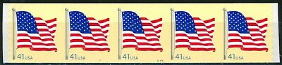 US Flag on Tan 41 Cent Denominated PNC5 Pl V11111 MNH Scott'S 4188 by AD    (s~)