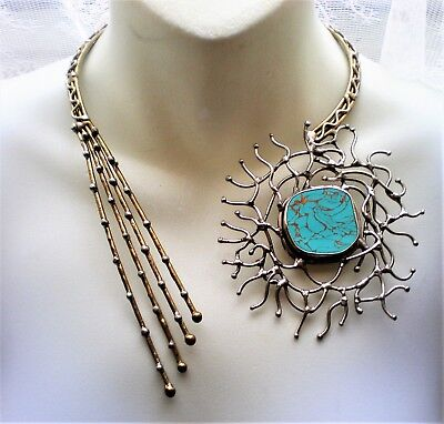 Artisan Sterling Silver Brass Mixed Metal Turquoise Color Stone Necklace Choker