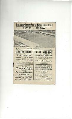 Doncaster Rovers v Barrow Football Programme 1948/49