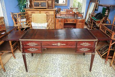 Antique French Mahogany Empire Partners Desk or Bureau Plat, 19th Century