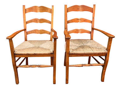 Pair of Ladder Back Arm Chairs Rush Seats in Oak
