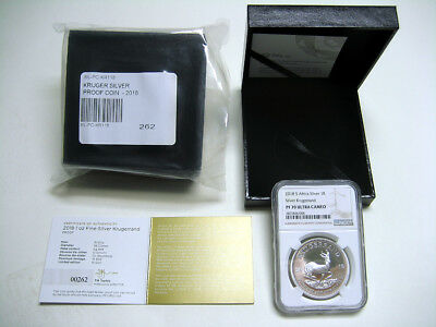 2018 South Africa Silver Krugerrand  PROOF - NGC PF70 - w/OGP & LOW COA #262
