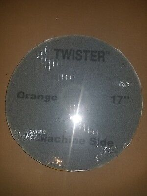 "2 Pack Orange HTC Twister 17"" Floor Cleaning Pads Buffer Burnisher"