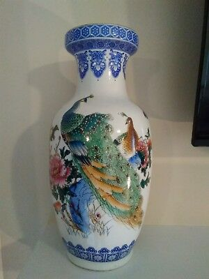 Large Pair of Vintage/Antique Chinese Porcelain Vases ~ Peacocks Pheasants Birds