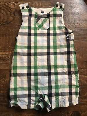 Janie And Jack Boys Blue Green Plaid Romper Size 3-6 Months