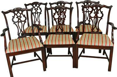 17406 Set of 6 Chippendale Formal Carved Dining Chairs
