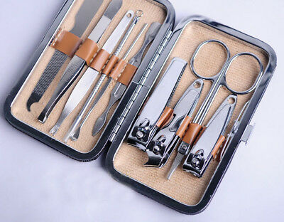 New 10 Pcs Pedicure Manicure Set Nail Clippers Cleaner Cuticle Grooming Kit Case
