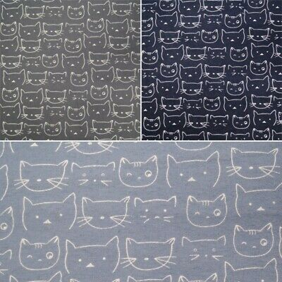 100% Brushed Cotton Printed Winceyette Flannel Fabric Cute Cats Kittens