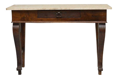 Antique French Empire style console with marble top, single drawer,