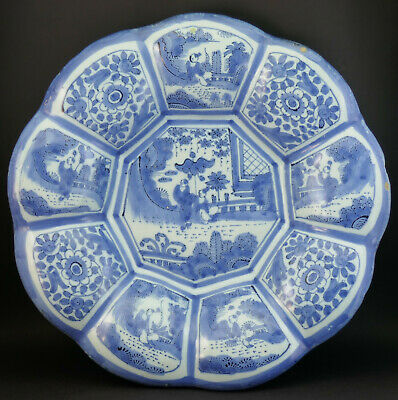 ANTIQUE SIGNED 17/18thC DUTCH DELFT BLUE AND WHITE LOBED CHINOISERIE PLATE DISH