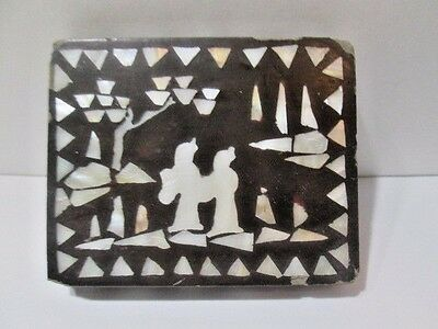 Inlaid Wood Mother Of Pearl Trinket Jewelry Wood Lacquer Box Courting Couple