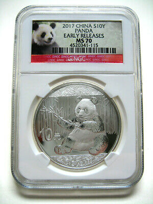 2017 China Silver Panda (30g) S10Y - NGC MS70 - Early Releases - BEAUTIFUL COIN!