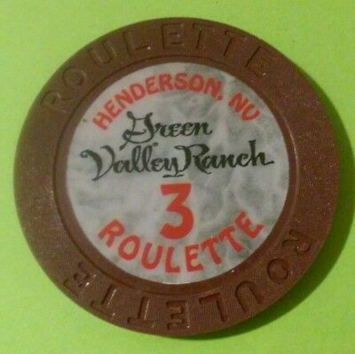 Green Valley Ranch Casino Henderson, Nevada Brown # 3 Roulette Gaming Chip!