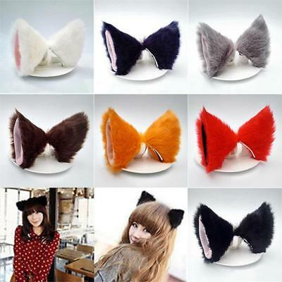 Anime Cosplay Costume Party Long Fur Fox Neko Cat Ear Hair Clip Optional Color D