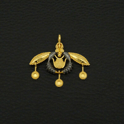 Minoan Malia Bees Pendant 925 Sterling Silver 22K Gold & Black Rhodium Plated