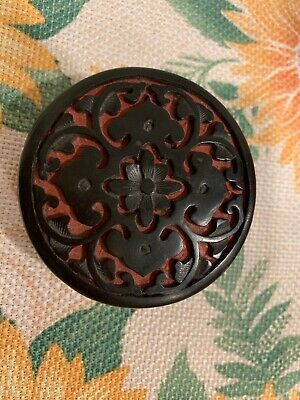 Small Chinese Black & Red Cinnabar Trinket Box