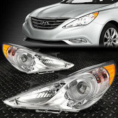 For 11-14 Sonata Pair Chrome Housing Amber Corner Projector Headlight Head Lamps
