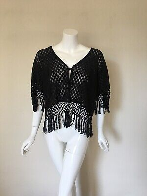 d31c10a296 Crochet Lace Solid Black One Size Swim Cover Up Blouse L M S Large Med Small