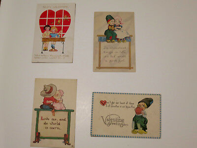 4 Antique Vintage Valentine's Post Cards from early 1900's Foreign slang